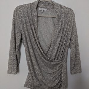 Chaus New York faux wrap top gray and white Sz m